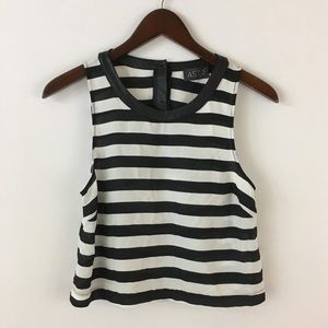 ASTR Black White Stripe Crop PU Leather Detail XS
